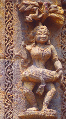 Dancing woman. Stone carving, 13 century AD, Surya mandir, Konark, India