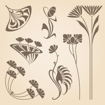 Vector art nouveau elements.