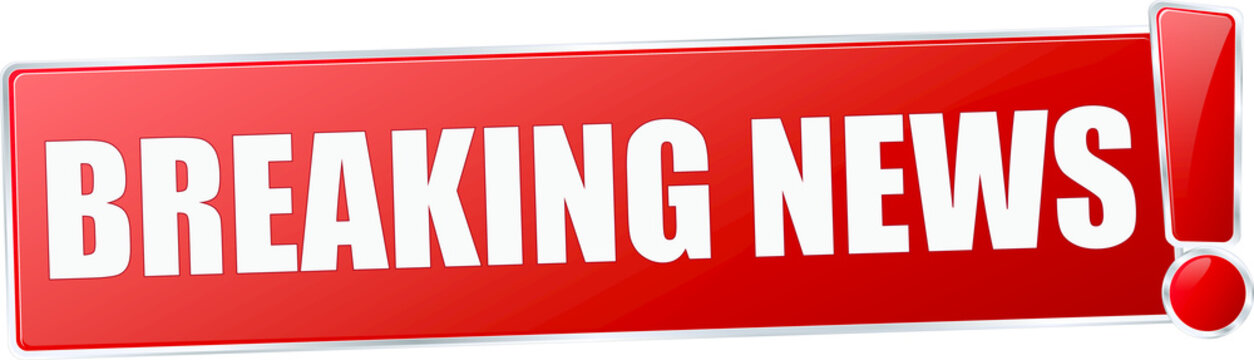 modern red breaking news vector sign in red with metallic border and a exclamation mark