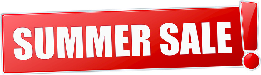 modern red summer sale vector sign in red with metallic border and a exclamation mark