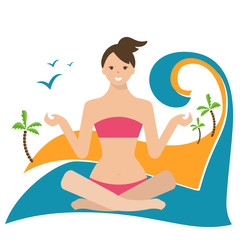 Conceptual illustration of a girl in lotus position, sitting on