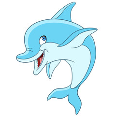 cute and happy cartoon dolphin is smiling