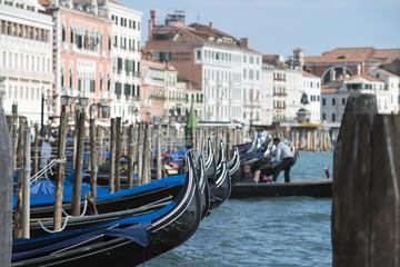 many gondolas in Venice