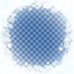 Snow frame blue background.