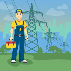 Electrician man near high-voltage power lines on the city shape background
