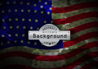 Camouflage military pattern flag USA background. Vector illustration