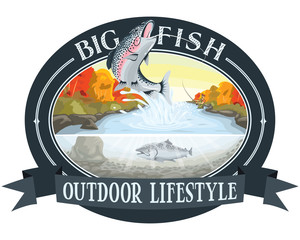 "Fishing Salmon River, Outdoor Lifestyle, ""Big Fish"" logo"