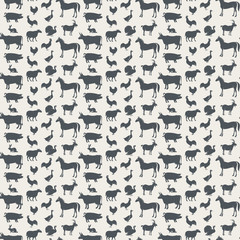 seamless background of various farm animals