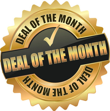 golden shiny vintage deal of the month 3D vector icon seal sign button shield star with checkmark