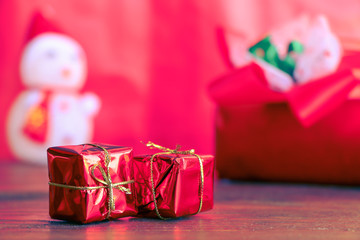 Christmas Present wrapped in red paper