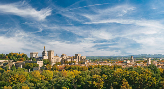 Wide panoramic view of old town and Papal palace in Avignon