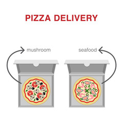 Two different types of pizza in boxes: mushroom and seafood. Pizza Delivery Illustration