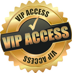 golden shiny vintage VIP Access 3D vector icon seal sign button shield star with checkmark