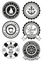 Set of black yacht club and sea theme round badges isolated on white background. Collection of elements for company logos, print products, page and web decor or other design. Vector illustration.