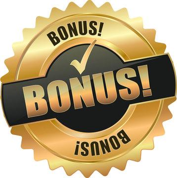 golden shiny vintage bonus 3D vector icon seal sign button shield star with checkmark