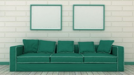 Empty picture frames in classic interior entrance background on the decorative brick wall with wooden floor. Copy space image. 3d render