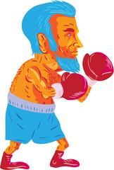 Bearded Boxer Boxing Cartoon WPA