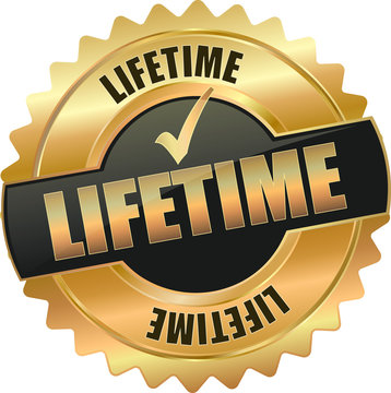 golden shiny vintage liftime 3D vector icon seal sign button star with checkmark