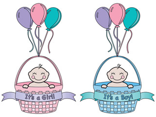 It's a Boy and It's a Girl Baby Announcement. Each in a basket with banner and balloons. Cartoon style.