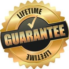 golden shiny vintage guarantee 3D vector / icon seal sign button shield star with checkmark