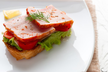Sandwich with meat cheese and tomatoes on a salad leaf close-up