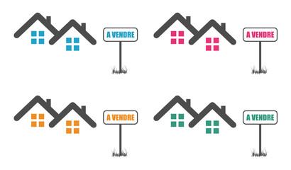 Logo maison à vendre.