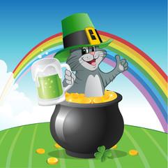 cartoon vector illustration of a cat on St Patricks Day