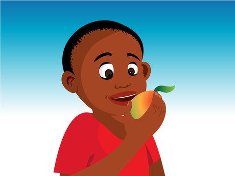 cartoon vector illustration of a boy eating mango