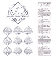 Anniversary signs collection in outline style. Celebration labels