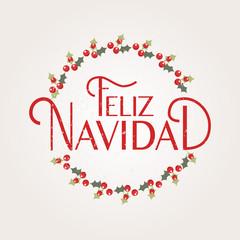 Feliz Navidad (New Year in Spanish) lettering. Feliz Navidad logotype