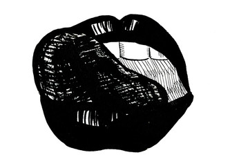 Beautiful sexy female open mouth with tongue touching lip black and white freehand watercolor illustration card cute decor wallpaper background erotic print greeting card, horizontal