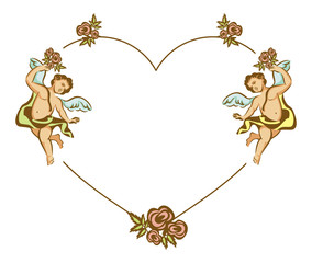 Heart shaped Valentine frame with Cupid