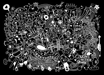 Hand Drawn of Doodle party background