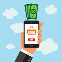 Móvil Smartphone, app pagar en tienda online