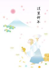 申年の年賀デザイン 縁起物と水色の袴姿の猿 初日の出