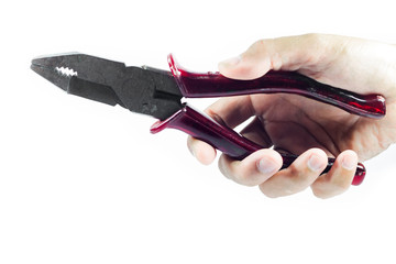 Woman Hand holding red pliers