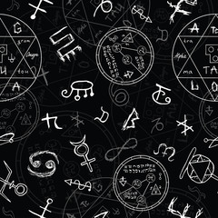 Seamless background with magic symbols.