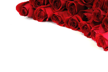 Wall Mural - red roses at the corner of white background