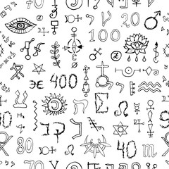 Seamless background with mystic symbols on white