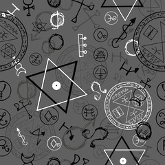 Seamless background with pentacles and magic symbols