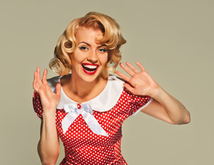 pleased young retro pinup woman
