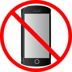Sign of prohibition of use of cell phones.