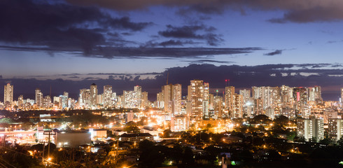 Night Falls Honolulu Downtown City Skyline Metropolis Hawaii
