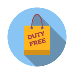 Duty-free bag flat icon