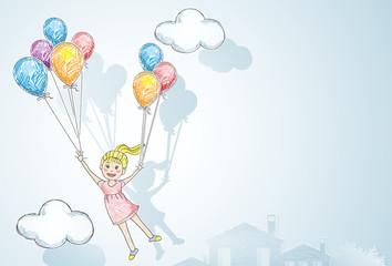 happy child / flying happy girl