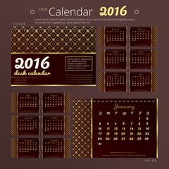 Desk calendar 2016 year with elegant golden design. Set of 12 months templates.