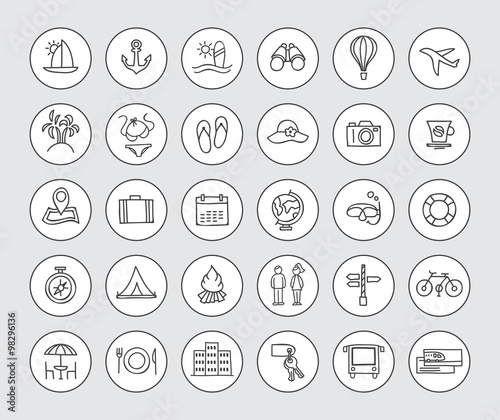Hand Drawn Travel Icons Vector Traveling Signs And Symbols Stock