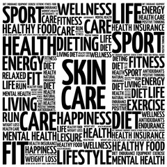 Skin care word cloud background, health concept