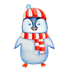 Penguin in a striped hat and scarf