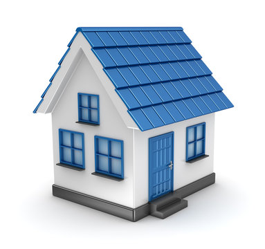 Small blue house model